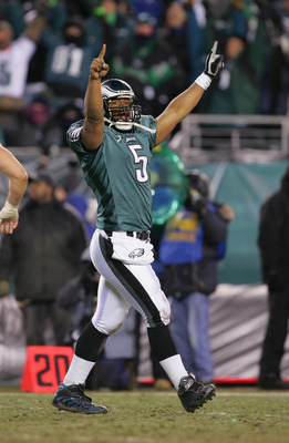PHILADELPHIA - JANUARY 23:  Donovan McNabb #5 of the Philadelphia Eagles celebrates during the NFC Championship game against the Atlanta Falcons at Lincoln Financial Field on January 23, 2005 in Philadelphia, Pennsylvannia.  (photo by Ezra Shaw/Getty Imag