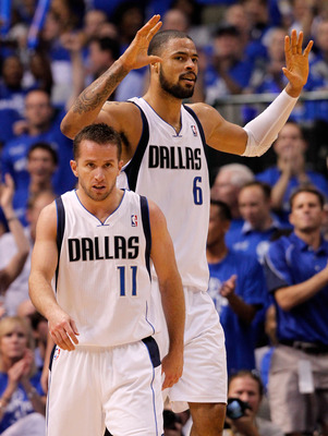 DALLAS, TX - MAY 25:  Tyson Chandler #6 of the Dallas Mavericks reacts behind Jose Juan Barea #11 of the Dallas Mavericks in the second quarter while taking on the Oklahoma City Thunder in Game Five of the Western Conference Finals during the 2011 NBA Pla