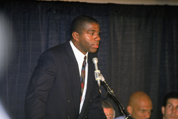 INGLEWOOD, CA - NOVEMBER 7:  Magic Johnson of the Los Angeles Lakers announces at a press conferences his retirement after being diagnosed as HIV positive. (Photo by Stephen Dunn/Getty Images)