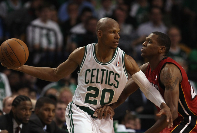 BOSTON, MA - MAY 07: Ray Allen #20 of the Boston Celtics looks to pass as James Jones #22 of the Miami Heat defends in Game Three of the Eastern Conference Semifinals in the 2011 NBA Playoffs on May 7, 2011 at the TD Garden in Boston, Massachusetts.  The