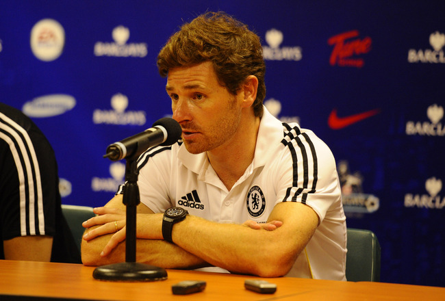 SO KON PO, HONG KONG - JULY 27:  Chelsea trainer Andre Villas-Boas speaks at the post-match press conference for the Asia Trophy pre-season friendly match between Kitchee and Chelsea at Hong Kong Stadium on July 27, 2011 in So Kon Po, Hong Kong.  (Photo b