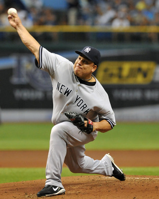 ST. PETERSBURG, FL - July 19:  Pitcher Bartolo Colon #40 of the New York Yankees starts against the Tampa Bay Rays July 19, 2011 at Tropicana Field in St. Petersburg, Florida.  (Photo by Al Messerschmidt/Getty Images)