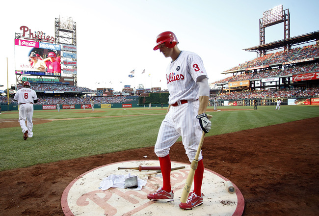 PHILADELPHIA - JULY 30:  Hunter Pence #3 of the Philadelphia Phillies walks into the on-deck circle during a game against the Pittsburgh Pirates at Citizens Bank Park on July 30, 2011 in Philadelphia, Pennsylvania.  (Photo by Jeff Zelevansky/Getty Images)