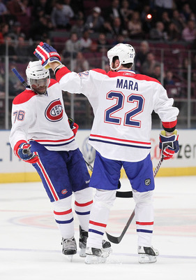NEW YORK - MARCH 18: P.K. Subban #76 of the Montreal Canadiens celebrates a goal with Paul Mara #22 against the New York Rangers during their game on March 18, 2011 at Madison Square Garden in New York City, New York.  (Photo by Al Bello/Getty Images)