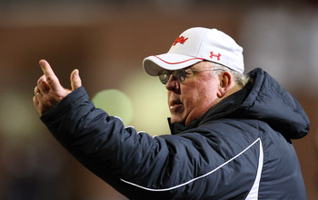 COLLEGE PARK, MD - NOVEMBER 22:  Head coach Ralph Friedgen of the Maryland Terrapins looks on against the Florida State Seminoles on November 22, 2008 at Byrd Stadium in College Park, Maryland.  (Photo by Jim McIsaac/Getty Images)