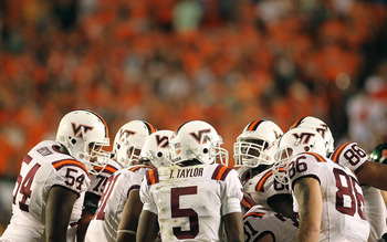 MIAMI - NOVEMBER 20:  Tyrod Taylor #5 of the Virginia Tech Hokies leads the huddle during a game against the Miami Hurricanes at Sun Life Stadium on November 20, 2010 in Miami, Florida.  (Photo by Mike Ehrmann/Getty Images)