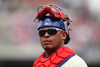 PHILADELPHIA - JULY 25: Catcher Carlos Ruiz #51 of the Philadelphia Phillies walks to the dugout during a game against the San Diego Padres at Citizens Bank Park on July 25, 2011 in Philadelphia, Pennsylvania. The Padres won 5-4. (Photo by Hunter Martin/G