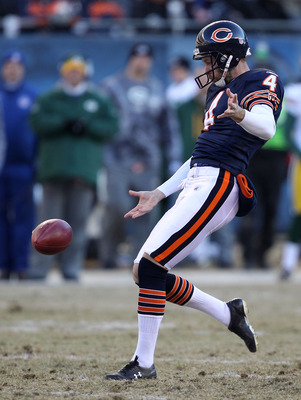 CHICAGO, IL - JANUARY 23:  Brad Maynard #4 of the Chicago Bears punts against the Green Bay Packers in the NFC Championship Game at Soldier Field on January 23, 2011 in Chicago, Illinois.  (Photo by Jonathan Daniel/Getty Images)