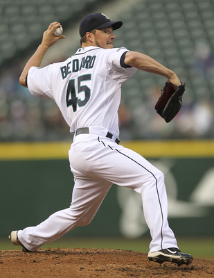 SEATTLE - JUNE 15:  Starting pitcher Erik Bedard #45 of the Seattle Mariners pitches against the Los Angeles Angels of Anaheim at Safeco Field on June 15, 2011 in Seattle, Washington. (Photo by Otto Greule Jr/Getty Images)