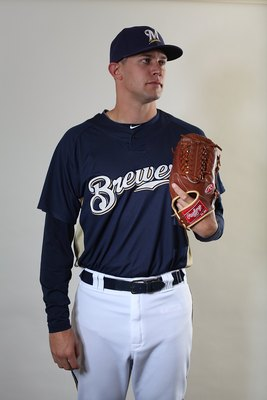 MARYVALE, AZ - MARCH 01:  Kyle Heckathorn #68 poses for a portrait during the Milwaukee Brewers Photo Day at the Maryvale  Baseball Park on March 1, 2010 in Maryvale, Arizona.  (Photo by Jonathan Ferrey/Getty Images)