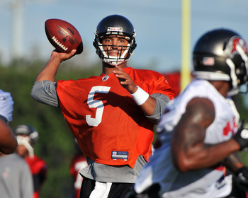 TAMPA, FL - JULY 29:  Quarterback Josh Freeman #5 of the Tampa Bay Buccaneers throws a pass during the team's first pre-season training camp practice July 29, 2011 at One Buccaneer Place in Tampa, Florida. (Photo by Al Messerschmidt/Getty Images)