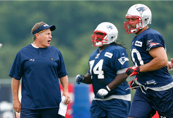 FOXBOROUGH, MA  - JULY 29:  Coach Bill Belichick of the New England Patriots shouts instruction during the afternoon session of training camp at Gillette Stadium on July 29, 2011 in Foxborough, Massachusetts.  (Photo by Jim Rogash/Getty Images)