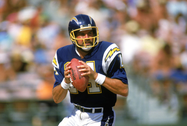 SAN DIEGO -1987: Dan Fouts #14 of the San Diego Chargers looks to pass during a 1987 NFL season game at Jack Murphy Stadium in San Diego, California. ( Photo by: Stephen Dunn/Getty Images)