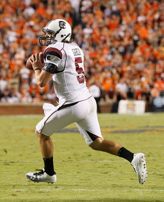AUBURN, AL - SEPTEMBER 25:  Quarterback Stephen Garcia #5 of the South Carolina Gamecocks against the Auburn Tigers at Jordan-Hare Stadium on September 25, 2010 in Auburn, Alabama.  (Photo by Kevin C. Cox/Getty Images)