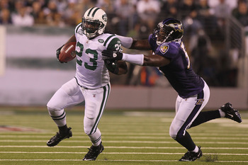 EAST RUTHERFORD, NJ - SEPTEMBER 13:  Shonn Greene #23 of the New York Jets in action against the Baltimore Ravens during their home opener at the New Meadowlands Stadium on September 13, 2010 in East Rutherford, New Jersey.  (Photo by Jim McIsaac/Getty Im