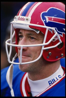 26 Nov 1995:  Quarterback Jim Kelly of the Buffalo Bills stands on the field during a game against the New England Patriots at Rich Stadium in Orchard Park, New York.  The Patriots won the game 35-25.  Mandatory Credit: Rick Stewart  /Allsport