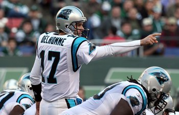 EAST RUTHERFORD, NJ - NOVEMBER 29:  Jake Delhomme #17 of the Carolina Panthers calls a play against the New York Jets on November 29, 2009 at Giants Stadium in East Rutherford, New Jersey. The Jets defeated the Panthers 17-6.  (Photo by Jim McIsaac/Getty