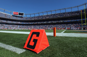 DENVER - SEPTEMBER 19:  A general view of the field as the Seattle Seahawks prepare to face the Denver Broncos defense at INVESCO Field at Mile High on September 19, 2010 in Denver, Colorado. The Broncos defeated the Seahawks 31-14.  (Photo by Doug Pensin