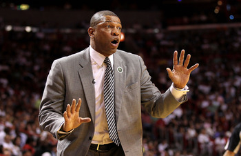 MIAMI, FL - APRIL 10:   Boston Celtics head coach Doc Rivers looks on during a game against the Miami Heat  at American Airlines Arena on April 10, 2011 in Miami, Florida. NOTE TO USER: User expressly acknowledges and agrees that, by downloading and/or us