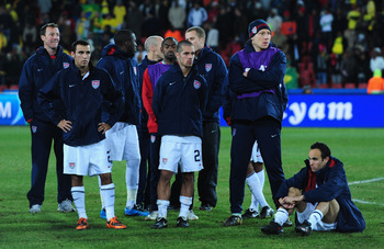 JOHANNESBURG, SOUTH AFRICA - JUNE 28:  The USA players show their dejection at the end of the FIFA Confederations Cup Final between USA and Brazil at the Ellis Park Stadium on June 28, 2009 in Johannesburg, South Africa.  (Photo by Laurence Griffiths/Gett