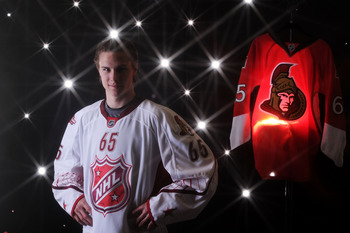 RALEIGH, NC - JANUARY 30:  (EDITORS NOTE: A special effects camera filter was used for this image.) Erik Karlsson #65 of the Ottowa Senators for Team Staal poses for a portrait before the 58th NHL All-Star Game at RBC Center on January 30, 2011 in Raleigh