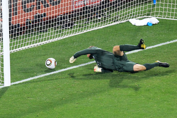 RUSTENBURG, SOUTH AFRICA - JUNE 12:  Robert Green of England misjudges the ball and lets in a goal during the 2010 FIFA World Cup South Africa Group C match between England and USA at the Royal Bafokeng Stadium on June 12, 2010 in Rustenburg, South Africa