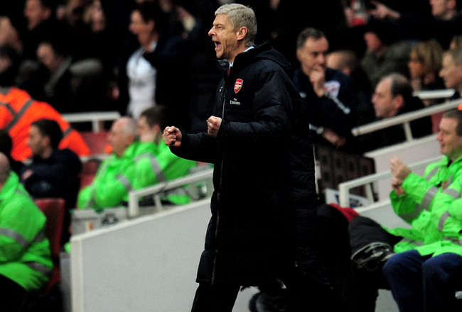 LONDON, ENGLAND - FEBRUARY 23:  Arsene Wenger manager of Arsenal celebrates after victory in the Barclays Premier League match between Arsenal and Stoke City at the Emirates Stadium on February 23, 2011 in London, England.  (Photo by Shaun Botterill/Getty