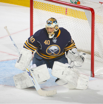 BUFFALO, NY - JANUARY 21:  Patrick Lalime #40 of the Buffalo Sabres stands in goal against the New York Islanders at HSBC Arena on January 21, 2011 in Buffalo, New York. New York won 5-2.  (Photo by Rick Stewart/Getty Images)