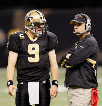NEW ORLEANS - NOVEMBER 21:  Quarterback Drew Brees #9 and head coach Sean Payton of the New Orleans Saints against the Seattle Seahawks at Louisiana Superdome on November 21, 2010 in New Orleans, Louisiana.  (Photo by Kevin C. Cox/Getty Images)
