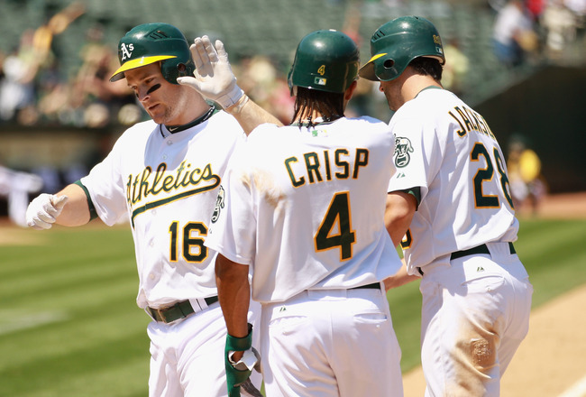 OAKLAND, CA - MAY 29:  Josh Willingham #16 of the Oakland Athletics is congratulated by Coco Crisp #4 and Conor Jackson #28 after he hit a home run to score them allin the fifth inning against the Baltimore Orioles at Oakland-Alameda County Coliseum on Ma