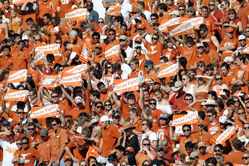 AUSTIN, TX - SEPTEMBER 25:  A view of fans during a game between the UCLA Bruins and the Texas Longhorns at Darrell K Royal-Texas Memorial Stadium on September 25, 2010 in Austin, Texas.  (Photo by Ronald Martinez/Getty Images)