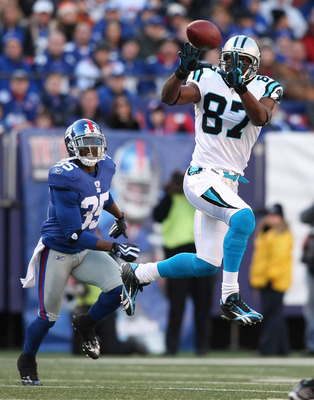 EAST RUTHERFORD, NJ - DECEMBER 27: Muhsin Muhammad #87 of the Carolina Panthers catches a pass against the New York Giants at Giants Stadium on December 27, 2009 in East Rutherford, New Jersey.  (Photo by Nick Laham/Getty Images)
