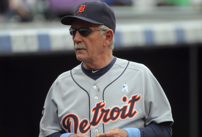 DENVER, CO - JUNE 19:  Manager Jim Leyland #10 of the Detroit Tigers leads his team against the Colorado Rockies at Coors Field on June 19, 2011 in Denver, Colorado.  (Photo by Doug Pensinger/Getty Images)