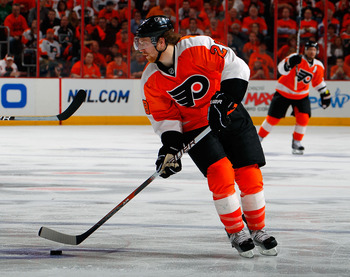 PHILADELPHIA, PA - MAY 02:  Claude Giroux #28 of the Philadelphia Flyers skates in Game Two of the Eastern Conference Semifinals against the Boston Bruins during the 2011 NHL Stanley Cup Playoffs at Wells Fargo Center on May 2, 2011 in Philadelphia, Penns