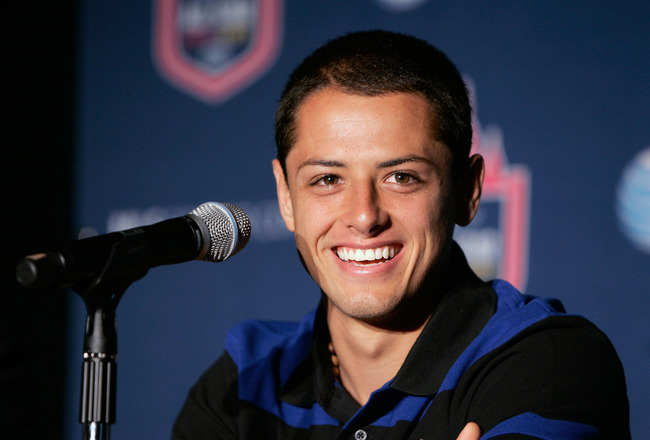 NEW YORK, NY - JULY 25: Javier 'Chicharito' Hernandez of Manchester United speaks at the 2011 MLS All-Star Game press conference at All-Star HUB on July 25, 2011 in New York City. The MLS All-Star game will be played on Wednesday July 27, 2011 at Red Bull