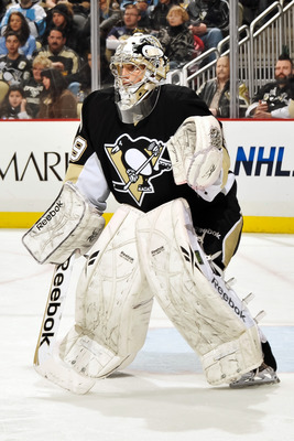 PITTSBURGH, PA - MARCH 13:  Goaltender Marc-Andre Fleury #29 of the Pittsburgh Penguins defends the net against the Edmonton Oilers on March 13, 2011 at CONSOL Energy Center in Pittsburgh, Pennsylvania.  (Photo by Jamie Sabau/Getty Images)