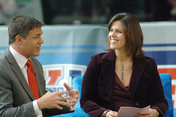 Jay Crawford and Dana Jacobson during a broadcast of ESPN's Cold Pizza from the Super Bowl XL Media Center at the Renaissance Center in Detroit, Michigan on January 30, 2006.  (Photo by Al Messerschmidt/Getty Images)