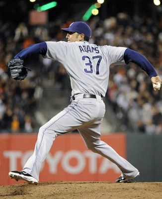 SAN FRANCISCO, CA - JULY 6: Mike Adams #37 of the San Diego Padres pitches against the San Francisco Giants in the bottom of the eighth inning during an MLB baseball game at AT&T Park July 6, 2011 in San Francisco, California. (Photo by Thearon W. Henders