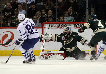 ST PAUL, MN - MARCH 22: Mikhail Grabovski #84 of the Toronto Maple Leafs scores a second period goal against Niklas Backstrom #32 of the Minnesota Wild at the Xcel Energy Center on March 22, 2011 in St Paul, Minnesota.  (Photo by Bruce Bennett/Getty Image