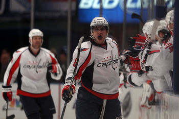 NEW YORK, NY - APRIL 17:  Alex Ovechkin #8 of the Washington Capitals celebrates after he scored a second period goal against the New York Rangers in Game Three of the Eastern Conference Quarterfinals during the 2011 NHL Stanley Cup Playoffs at Madison Sq