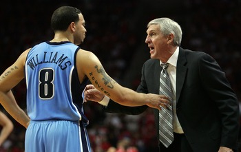 HOUSTON - MAY 5:  Head coach Jerry Sloan talks with Deron Williams #8 of the Utah Jazz in Game Seven of the Western Conference Quarterfinals during the 2007 NBA Playoffs at Toyota Center May 5, 2007 in Houston, Texas. NOTE TO USER: User expressly acknowle