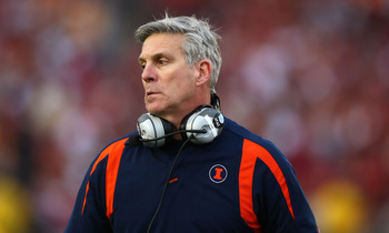 PASADENA, CA - JANUARY 01:  Head coach Ron Zook of the Illinois Fighting Illini looks on during the 'Rose Bowl presented by Citi' against the USC Trojans at the Rose Bowl on January 1, 2008 in Pasadena, California.  (Photo by Donald Miralle/Getty Images)