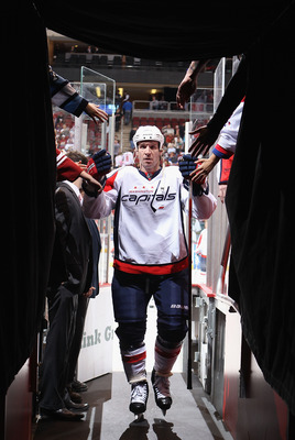GLENDALE, AZ - FEBRUARY 14:  Mike Knuble #22 of the Washington Capitals walks off the ice following warm ups to the NHL game against the Phoenix Coyotes at Jobing.com Arena on February 14, 2011 in Glendale, Arizona. The Coyotes defeated the Capitals 3-2.