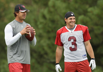 FLAGSTAFF, AZ - JULY 30:  Quarterback Kevin Kolb #4 and kicker Jay Feely #3 of the Arizona Cardinals during the team training camp at Northern Arizona University on July 30, 2011 in Flagstaff, Arizona.  (Photo by Christian Petersen/Getty Images)