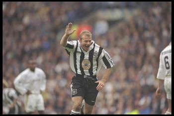 21 Sep 1996:  Alan Shearer of Newcastle United celebrates after scoring during the FA Carling Premiership match between Leeds United and Newcastle United at Elland Road, Leeds. Newcastle went on to win the match by 1-2. Mandatory Credit: Shaun Botterill/A