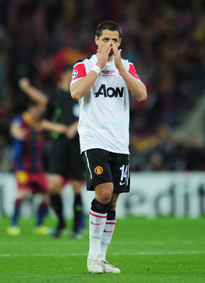 LONDON, ENGLAND - MAY 28:  Javier Hernandez of Manchester United shows his dejection after the UEFA Champions League final between FC Barcelona and Manchester United FC at Wembley Stadium on May 28, 2011 in London, England.  (Photo by Shaun Botterill/Gett