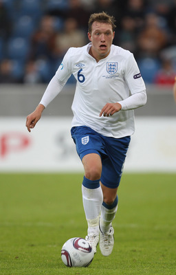HERNING, DENMARK - JUNE 15:  Phil Jones of England during the UEFA European Under-21 Championship Group B match between Ukraine and England at the Herning Stadium on June 15, 2011 in Herning, Denmark.  (Photo by Ian Walton/Getty Images)
