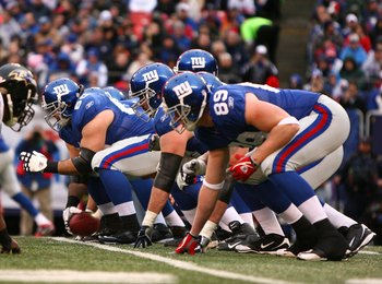 EAST RUTHERFORD, NJ - NOVEMBER 16:  A view of the offensive line of the New York Giants against the Baltimore Ravens during their game on November 16, 2008 at Giants Stadium in East Rutherford, New Jersey.  (Photo by Al Bello/Getty Images)