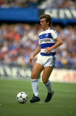 8 Sep 1984:  Ian Dawes of Queens Park Rangers in action during a Canon League Division One match against Nottingham Forest at Loftus Road in London. Queens Park Rangers won the match 3-0. \ Mandatory Credit: David  Cannon/Allsport