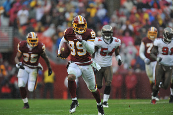 LANDOVER, MD - DECEMBER 12:  Santana Moss #89 of the Washington Redskins runs the ball after a catch during the game against the Tampa Bay Buccaneers  at FedExField on December 12, 2010 in Landover, Maryland. The Buccaneers defeated the Redskins 17-16. (P